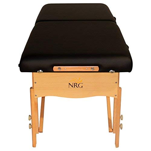 Chi Massage Portable Table Package by NRG - Lightweight, Folding Massage Therapy Table - Ultra Comfortable - Made of Durable White Oak - Premium Headrest with Cushion, Carry Case - Color Black
