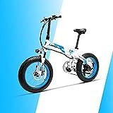 LANKELEISI X2000 20 × 4.0 Neumático Grande 48V 1000W 12.8AH Marco de aleación de Aluminio neumático Gordo Tire de la Bicicleta eléctrica Plegable para montaña/Playa/Nieve E-Bike (Azul)