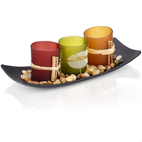 Arce Home - Teelichthalter mit Tablett aus Holz und dekorativen Zen Steinen | Vintage Kerzenhalter mit 3 Teelichtgläser | Handgemalte Kerzen Deko für Wohnzimmer oder Esstisch | 27.4 x 10 x 8.5 cm