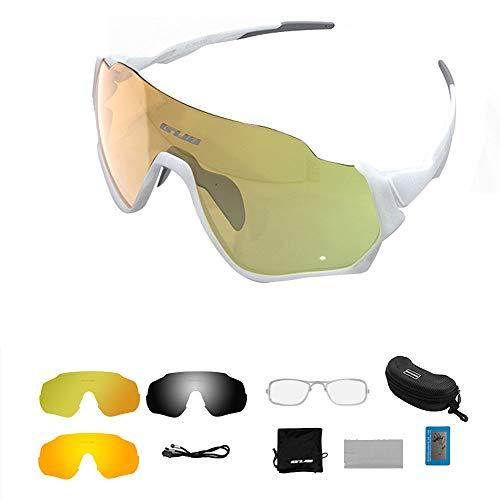 BDS Gafas de Sol Deportivas polarizadas para Hombres Mujeres con 3 Lentes Intercambiables para Deportes al Aire Libre MTB Ciclismo Correr Conducción Gafas de béisbol Gafas Protección UV