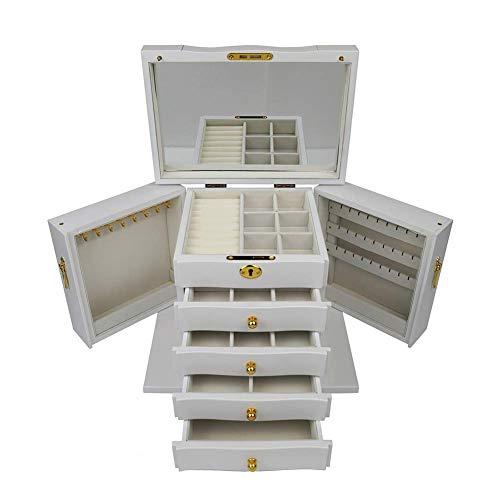 YUNLILI Caja de Joyas para Mujeres con 4 cajones Organizador de joyería para Pendiente Brazalete Pulsera Collar y Anillos Almacenamiento Pendiente de Joyería de Madera Pendiente (Color : White)