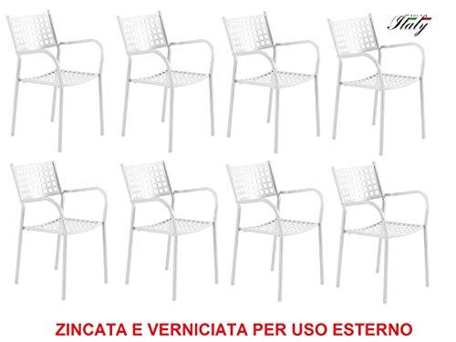 Chaise fauteuil pour usage extérieur modèle ALICE CH1550 Blanc Perle * * * OFFRE pour 8 pièces * * * zingué et vernie à poussières pour résister aux intempéries – produite en Italie de vermobil