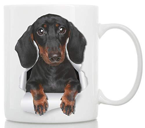 Süße Dackel-Tasse – Keramik schwarzer Dackel Kaffeetasse – perfekte Dackel-Geschenke – lustige, süße Dackel-Hunde-Kaffeetasse für Hundeliebhaber – Wiener Hund Kaffeetasse (313 ml)