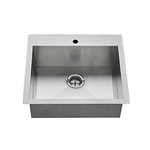 American Standard 18SB.9252211.075 Edgewater Zero Radius Dual Mount 25x22 Single Bowl w/Grid and Drain, Stainless Steel