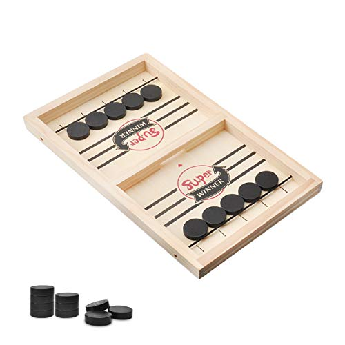 KETIEE Fast Sling Puck Game, Wooden Hockey Game Desktop Game Battle Board Game for Family … (Small)