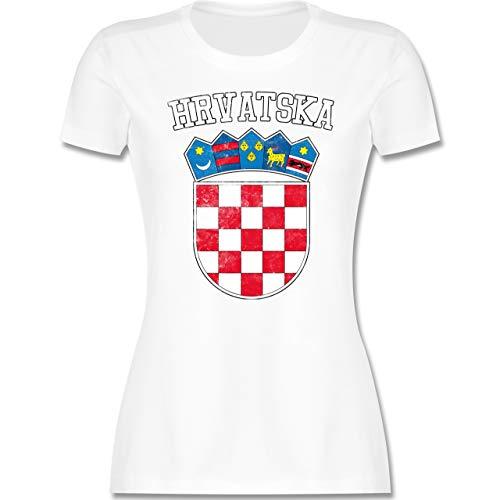 Fußball-Europameisterschaft 2021 - Kroatien Wappen WM - L - Weiß - kroatische Trikot wm 2018 original - L191 - Tailliertes Tshirt für Damen und Frauen T-Shirt