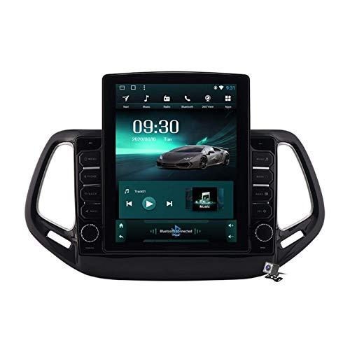 LYHY Autoradio Android 9.0, Radio Compatibile con Jeep Compass 2017-2019 Navigazione GPS Schermo Verticale da 9,7 Pollici unità Principale MP5 Lettore multimediale Video con 4G WiFi Carplay