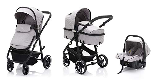 Fillikid fill Kinderwagen-Set Panther mit Babyschale   Multi Kinderwagen/Kombikinderwagen 3in1 mit Buggy & Babyschale, Design:Elite hellgrau