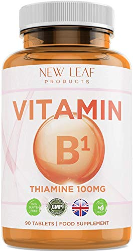 Vitamin B1 Thiamine Supplement Highly Absorbent Thiamin High Strength 100mg, Helps Maintain a Healthy Nervous System, Energy Release Vegan, Gluten-Free, GMP, Made in UK, 90 Tablets