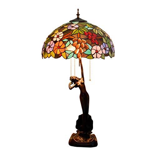 Tiffany-stijl tafellamp 30 inch groot gekleurd glas grape bloemen schaduw 3-licht-antieke decoratie bureaulamp voor salontafel woonkamer slaapkamer