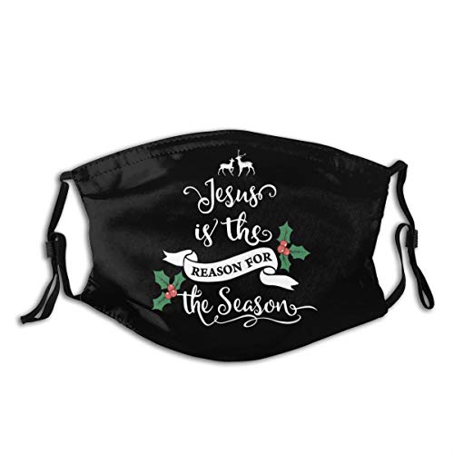 Xianlixiu Jesus is The Reason for The Season Grey Face Mouth Balaclava Dust Reusable Adults Protection