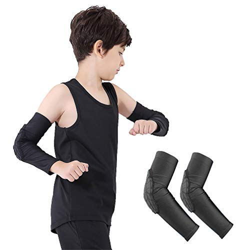 Luwint Children Volleyball Arm Pads - Boys & Girls Compression Armour Protective Elbow Guard for Football Basketball Baseball Bowling Tennis Hockey Sports, 1 Pair (Medium)