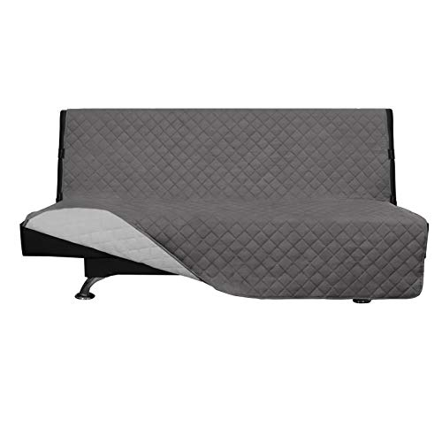 Easy-Going Futon Sofa Slipcover Reversible Sofa Cover Armless Futon Cover Furniture Protector Couch Cover Water Resistant PetsKidsChildrenDogCat(Futon,Gray/Light Gray)