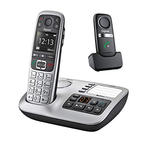 Gigaset E560A Plus, Schnurloses Seniorentelefon mit Anrufbeantworter und Freisprech-Clip, Notruftaste für 4 SOS-Nummern, Extra-Laut-Taste, Freisprechfunktion - extragroße Tasten, silber