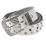 P Prettyia Cinturón Amplio Cuero Artificial Hebilla con Diamantes Artificiales Joyas para Mujer Señora - Blanco, tal como se describe