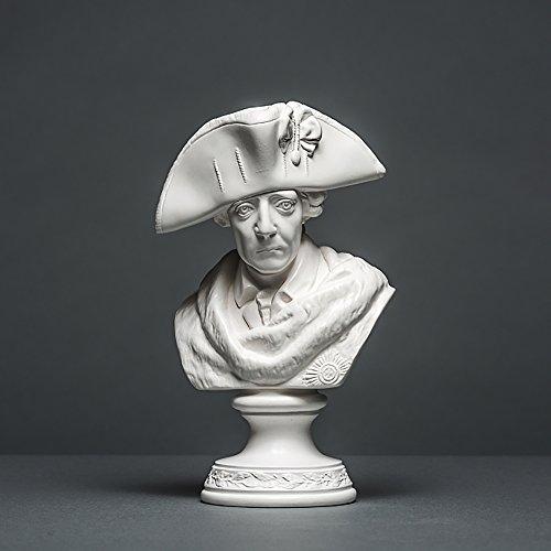 Friedrich II Skulptur aus hochwertigem Zellan, Friedrich der Große, Alter Fritz echte Handarbeit Made in Germany, Büste in weiß, 19cm