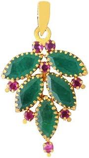 Lagu Bandhu 22k (916) Yellow Gold, Emerald and Ruby Pendant for Women