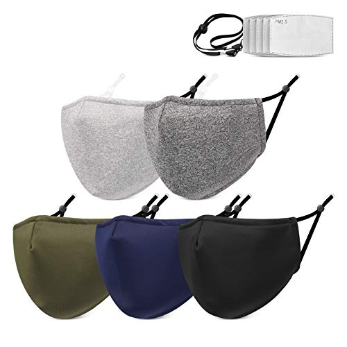 Cloth Face Mask for Men Women 5 Pack Reusable Washable Face Masks with Filters Breathable Face Mask...