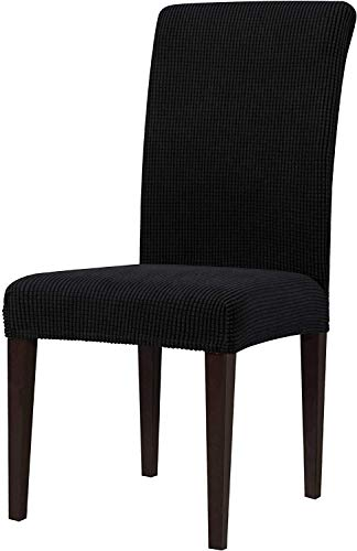 Dining Chair Covers, Rhombus Chair Protectors Slipcovers,Removable Washable Stretch Dining Chair Covers for Hotel Dining Room Ceremony Banquet Wedding Party (4,Chocolate)