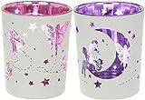 ++Set++ 2 Stück Glas-TEELICHTHALTER VOTIVKERZEN-Halter FEEN Elfen Fairies Pink-Lila