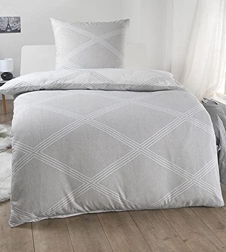 MALIKA 2 teilige kuschelige Wende Baumwolle Soft Fein Biber Bettwäsche 135x200 + 80x80 Kissenbezug, warme Winter Bettbezug grau, Design - Motiv:Design 1