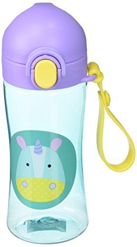 Skip Hop Zoo Lock Top - Botella deportiva con pajita de silicona para niños, multicolor multicolor Unicornio.