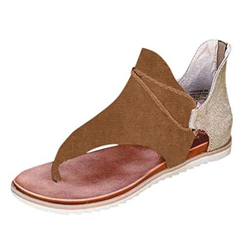 VJGOAL Mujer Sandalias Planas Casual Vintage Impresión Chanclas Cremallera Zapatos Romanos Sandalias de Punta Abierta Sandalias de Playa de Verano
