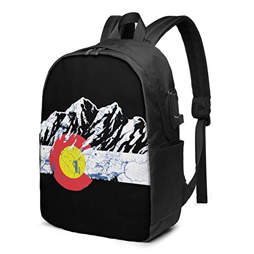 Colorado Flag Mountain Laptop Backpack with USB Charging Port, Business Bag, Bookbag | Fits Most 17 Inch Laptops and Tablets