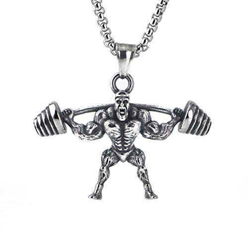 Amgj Strong Man manubrio palestra fitness Barbell pendente dell' acciaio inossidabile sport palestra collana per gli uomini