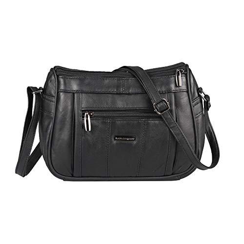 OBC Damen Leder Tasche Umhängetasche Crossbody Schultertasche Handtasche Crossover Clutch Borsetta Ledertasche Schmucktasche (Schwarz 23x18x8 cm)