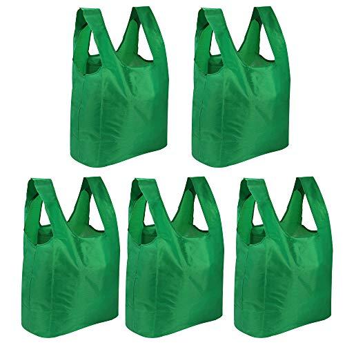5 återanvändbara livsmedelspåsar | Vikbar shoppingväska | Fällbar bärare med påse | Miljövänlig Supermarket Handväska | Shoppersäck | Pukkr