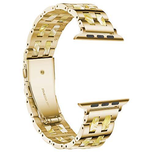 Compatible con Apple Watch Band 38 mm 42 mm, resina de acero inoxidable metal pulseras correa para iWatch Series 6/5/4/3/2/1 y iWatch SE (cera de abejas, 42 mm)