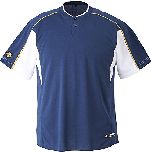 DESCENTE(デサント) 野球 2ボタンベースボールシャツ ホワイト×ゴールド XOサイズ DB104B