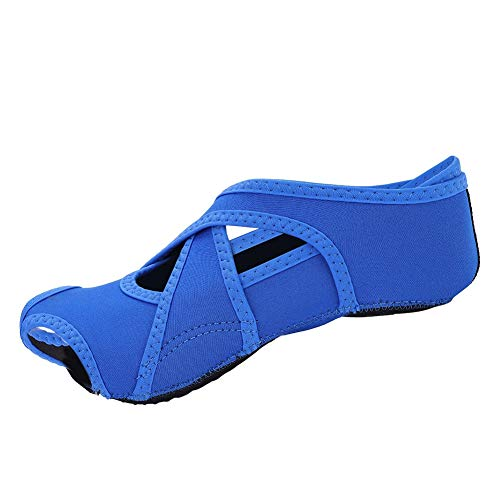 Yoga Socken Damen Anti Rutsch Yoga Schuhe, Yoga Wrap Schuhe Yoga Pilates Socken mit Zehen Soft Wrap Barre Dance Training Schuhe mit Griffen für Pilates Ballett Barre Studio Männer Frauen(M-Blau)