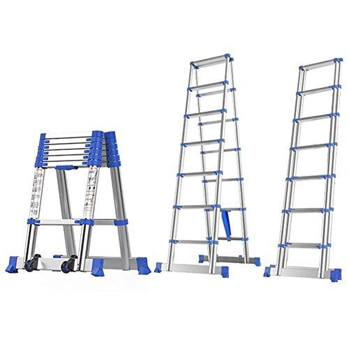 Aluminium Telescopische Ladder A-frame met dubbele Stabilizer Bar, portable telescopische Folding Klim Ladders for House Office Outdoor Industrial, 330lb Laadvermogen (Maat: 4.65m / 15.3ft) 8bayfa