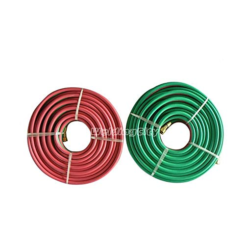 "WeldingCity 50-ft Grade-T Twin Hose 1/4"" B-B Fittings for Oxygen/Acetylene Propane Welding & Cutting"