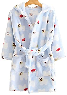 TRENDY XU Kids Lovely Cartoon Print Homewear Robe Soft Flannel Bathrobe