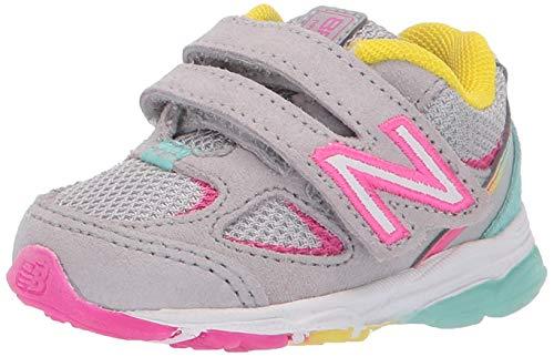 New Balance unisex child 888 V2 Hook and Loop Running Shoe, Grey/Rainbow, 10 Toddler US