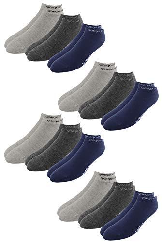 Giorgio Capone Premium bamboe sneakersokken, 12 stuks, superzacht, hoog draagcomfort, lichtgrijs, antraciet, donkerblauw: 39-42, 43-46