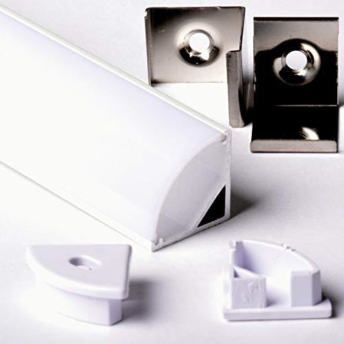 Aftertech® 2m 2m 1616 16x16mm ALUMINIUM PROFIL RUNDE ECKE FÜR LED STRIP STRIP RIGID BAR 2m + ABDECKUNG (1616B WHITE COVER WHITE PROFILE)