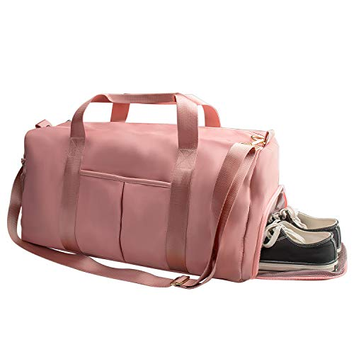 Suruid Gym Bag for Women, Workout Duffel Bag Shoe Compartment, Sports Gym Travel Bags with Dry Wet Pocket and Shoe Compartment - Pink