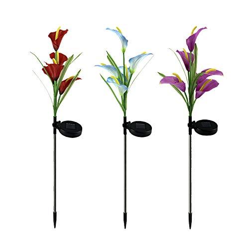 Lámparas solares para jardín, luz de jardín al aire libre con 15 Calla Lily decorativas multicolor que cambian de luz solar para patio, césped, jardín y patio (3 unidades rojas, azules y moradas)