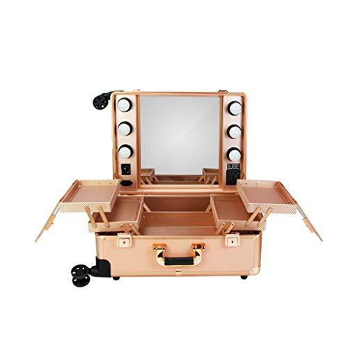 OCYE Malette Maquillage Professionnel en Aluminium 6LED,Trolley à Maquillage avec Miroir de Maquillage, 40 × 21,5 × 52cm