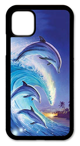Cell Phone Cover - Compatible with Apple iPhone 11 - Dolphins in The Wave - iPhone 11 Case - (6.1 Inch Screen)
