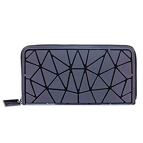 QIANJINGCQ todo-fósforo moda pu señoras cartera reflectante posición de la tarjeta bolso de mano geométrica cartera larga material luminoso rombo bolso simple