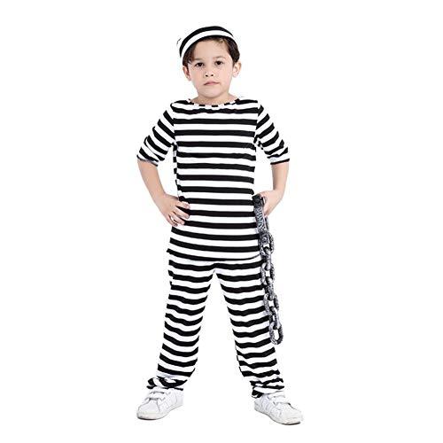 CGBF - Disfraz de preso para mujer, diseo de fila de la muerte para Halloween, color negro, 110 ~ 120