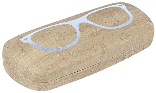 Elegante funda rígida para gafas SASCHI con superficie en imitación de corcho y diseño de gafas plateadas.