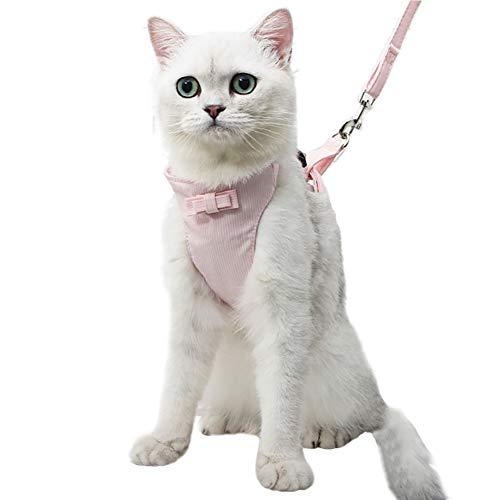 Shiningbaby Katze Weste und Blei Set Cute Bowknot Kätzchen Escape Proof Katzengeschirr und Leine Verstellbarer Brustgurt Set
