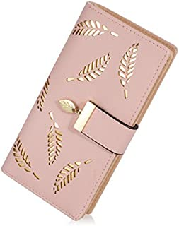 Lorna Women's Wallet Hollow Leaf Pattern Bifold Leather Lady Long Wallet Purse Coin Button Clutch Bag Black/Blue/Beige/Brown