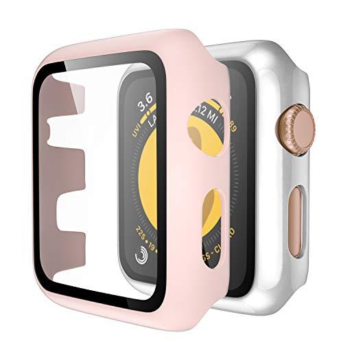 Upeak Compatible con Apple Watch Series 3 38mm Funda con Vidrio Templado, 2 Piezas Caja Protectora para Mujeres Hombres Compatible con iWatch 3, Brillante Plata/Mate Rosa